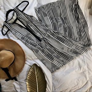 Striped black and white maxi